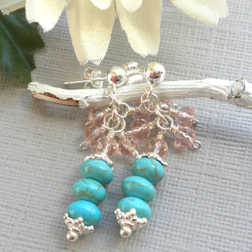 Turquoise Howlite Gemstone Earrings, Turquoise and Crystal Handcrafted Earrings, Sterling and Turquoise Earrings, Sterling Post Dangles