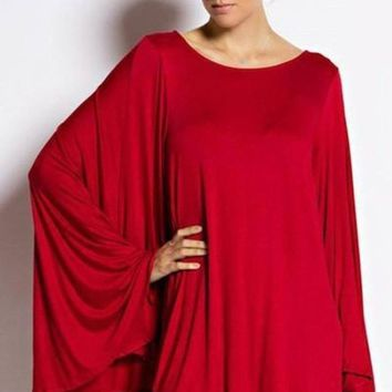 Weekends in Soho Cape Dress in Red