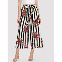 Multicolor Self Belted Floral Print And Striped Palazzo Pants