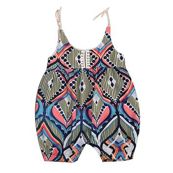 Floral Newborn Infant Baby Girl Sleeveless lacing Geometric Bohemia Halen Romper Outfits Clothes Summer Clothing