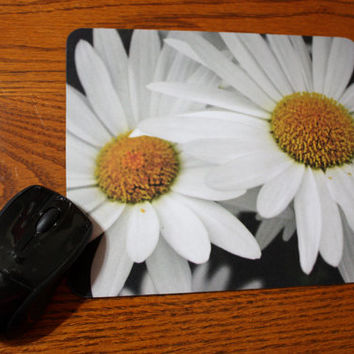 Bright, White Daisies to Brighten your Desk, Photo Mouse Pad, Unique Gift Idea, Office Gift, Holiday Gift, Gift for Her, READY TO SHIP