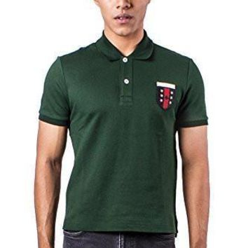 ca auguau Authentic Gucci Men's Logo Embroidered Green Polo Shirt