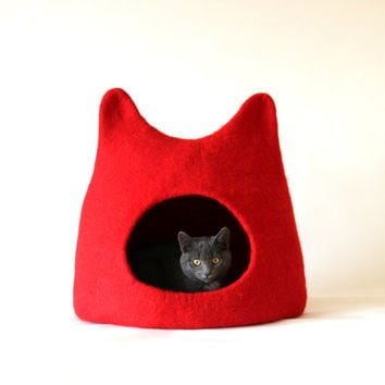 Cat bed - cat cave - cat house - handmade felted wool cat bed - solid red - made to order