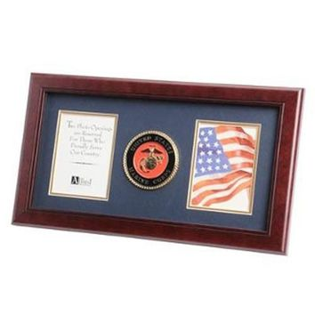 U.S. Marine Corps Medallion Double Picture Frame Hand Made By Veterans