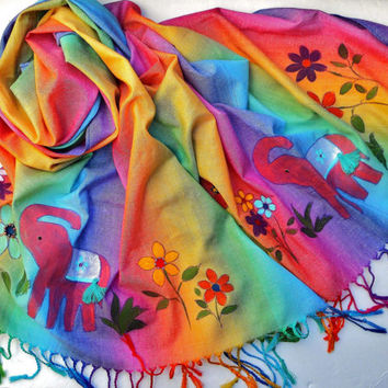 Colorful Boho Indian Elephant Pashmina Scarf Painted Beaded Bohemian Accessories FREE SHIPPING