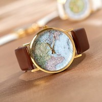 GreatCase Unisex Elegant Retro Old Classic Luxury World Map Bracelet Quartz Wrist Watch with Leather Band (Brown)