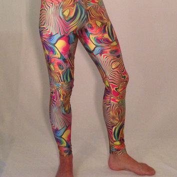 Acid Oil Slick // Men's Flare and Legging Psychedelic Festival Pants // Great Costume // Festival Clothing