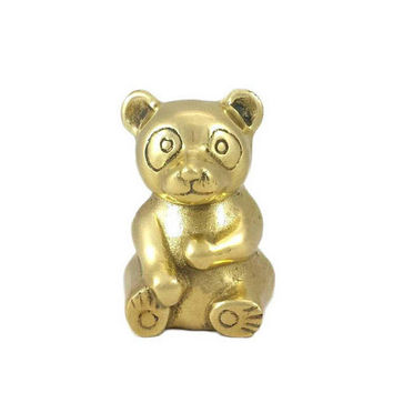 Brass Panda Bear Figurine Vintage Zoo Animal Statute Home Baby Nursery Room Office Mantle Bookshelf Office Decor