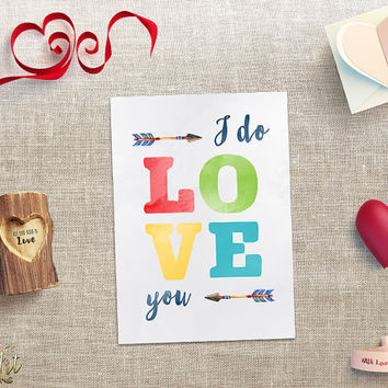 Boho Valentine Card Printable Love Cards Valentines Day Card Watercolor I Do Love You Greeting Card Watercolor Love Cards Instant Download