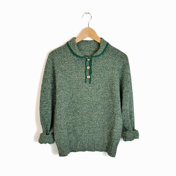 Vintage 60s Granny Sweater in Pine Green - small