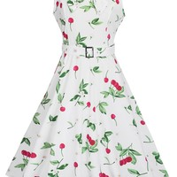 Casual Lapel Floral Cherry Printed Skater Dress