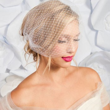 Double layer bandeau birdcage veil - ready to ship