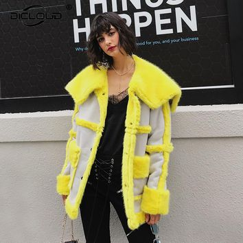 Chic Sheepskin Faux Fur Coats Jackets Women Yellow Long Faux Fur Coats Autumn Winter Thicken Warm Fur Lining Overcoat Outerwear