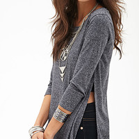 FOREVER 21 Marled Knit Slit Top Heather Grey