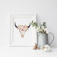 Floral Cow Skull 2