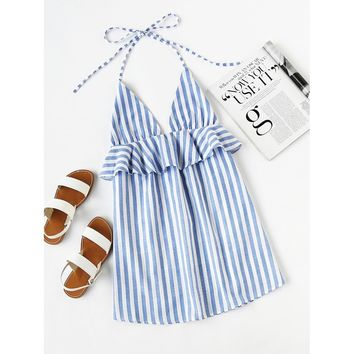 Vertical striped dress with ruffle trim