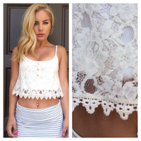 Lovely lace crop tank ivory