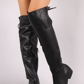 Bamboo Leather Back Lace-Up Over-The-Knee Riding Boots
