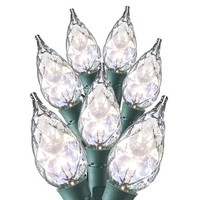 35ct Faceted Clear Iridescent Glass Flame Tip C6 String Lights