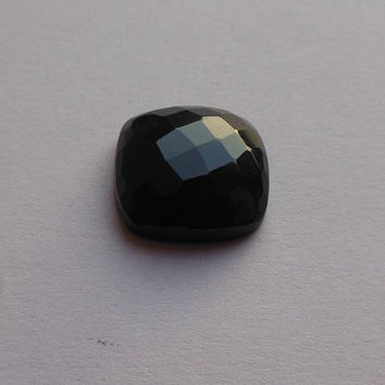 Black onyx cabochon - Faceted gemstone cabochon - black onyx  square cab