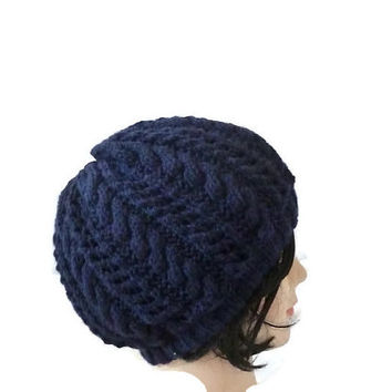 Womens Wool Hat, Cable knit Hat, Navy Blue Beanie, Womens Winter Beanie