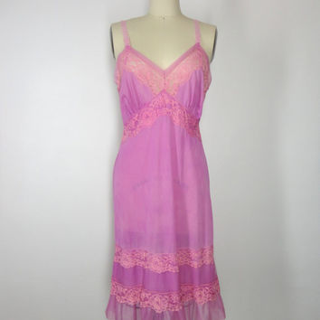 Full Slip / Candy Pink / Vintage Mad Men Style / Dyed Slip Dress / Lady Love 1960s / 36 Bust