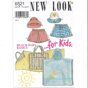 New Look for Kids 6521 Pattern for Beach Baby Basics, Size 1/2 to 4, FACTORY FOLDED, UNCUT, Beach Mat, Simplicity, Vintage Pattern, Home Sew