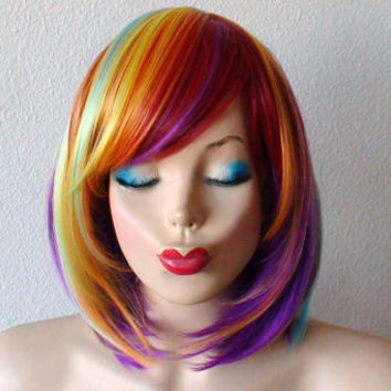 Spring Special // Rainbow wig. Rainbow Color wig.  Pastel color wig. Short bob hair rainbow color wig. Heat Resistant Synthetic wig.