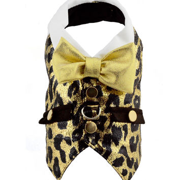 Gold and Brown Metallic Animal Print Dog Harness Vest