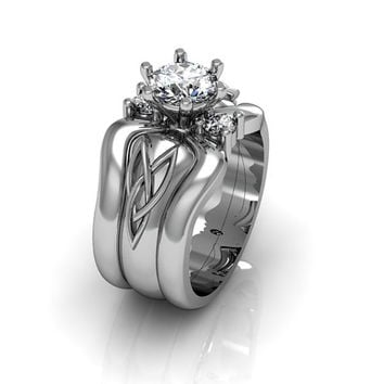 Sterling Silver Cubic Zirconia  Celtic Knot  Love and Friendship Engagement and Promise Solitaire Trio Ring Set