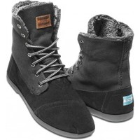 Black Canvas Suede Utility Boots