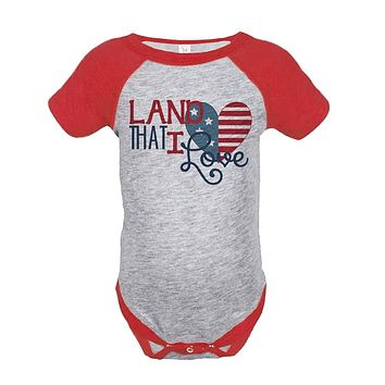 Custom Party Shop Land That I Love 4th of July Raglan Onepiece