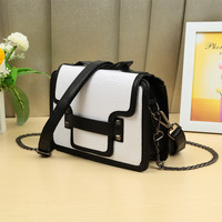 White Classic Color Block PU Texture OL Work Shoulder Crossbody Messenger Bag for Women