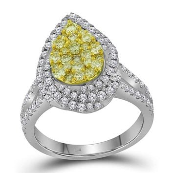 14kt White Gold Women's Round Canary Yellow Diamond Teardrop Cluster Bridal Wedding Engagement Ring 1-1/4 Cttw - FREE Shipping (US/CAN)