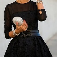Black Scoop Neck Long Sleeve Lace Flower Embroidery A Line Mini Skater Dress