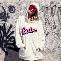 Women Loose Casual Letter Print Middle Long Section Hooded Long Sleeve Keep Warm Large Sweater Tops