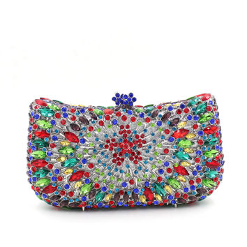 Full Crystal Neon Rhinestone Bling Clutch For Prom