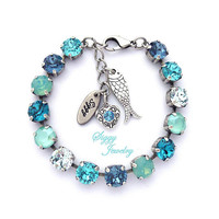 KAI Swarovski® Crystal Tennis Bracelet, 8mm Aqua, Pacific Opal, Teal Blue, Mint Green, Charms, Assorted Finishes, Gift Packaged