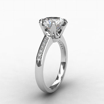 Platinum engagement ring with Diamonds, choose your own gemstone, platinum, diamond, solitaire, vintage style, huge center stone