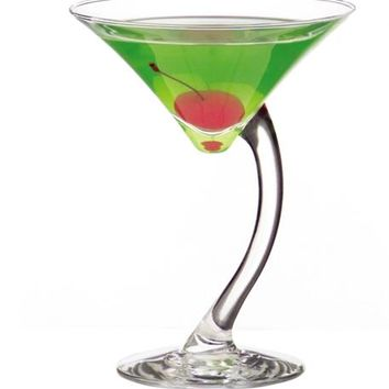 Bend Stem Glasses Wine, Shot, Mixed Martini Cocktail Glass