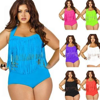 Bohemian  Newest Summer Plus Size Tassels Bikinis High Waist Swimsuit Women Bikini Swimwear Padded Fringe Shinny Bathing Suit