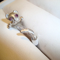 Handmade KITTY RING in Sterling Silver or Bronze - Lost Was Casting Design - Show Kitty Love - Kitty Design - Cats are FUN