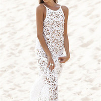 Leaves Lace Transparent Backless Cover Up Beach Dress
