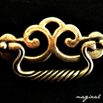Vintage Chunky Antique Solid Brass Chippendale Style Drop Pull Furniture Hardware