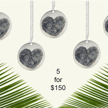 5 Personalized Fingerprint Heart Pendant Necklaces