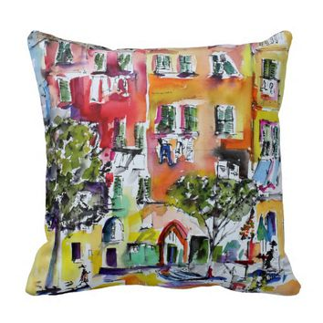 Vernazza Laundry out the Windows Watercolor Throw Pillow