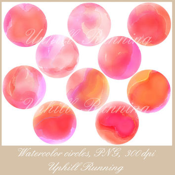 Clipart circles, Watercolor clipart dots, different shades of pink, red and orange,10xPNG + 10xJPG, 300 dpi, scrapbooking clip art