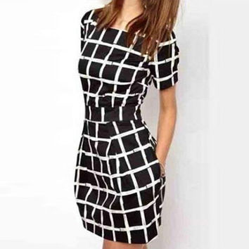 Women Sexy Short Sleeve Plaid Slim Bodycon Casual Pencil Black Mini Dress