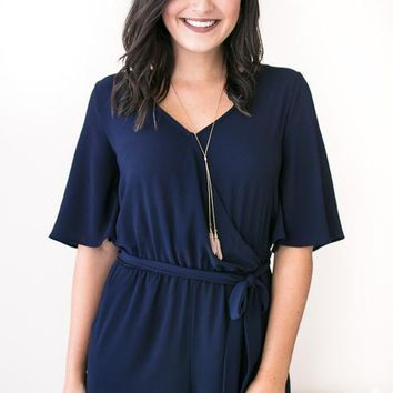 Perfect Poise Flutter Sleeve Navy Romper