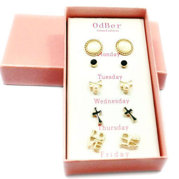 Korean Stylish Jewelry Lovely Box Earrings [7807570177]